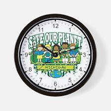Earth Kids Michigan Wall Clock
