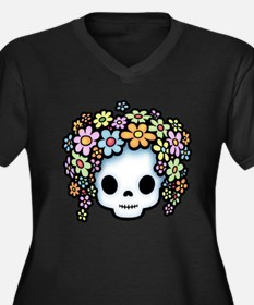 Flower Kid Power Women's Plus Size V-Neck Dark T-S
