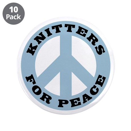 "Knitters For Peace 3.5"" Button (10 pack)"