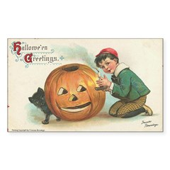 Pumpkin Boy Rectangle Sticker 50 pk)