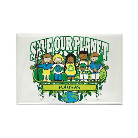 Earth Kids Kansas Rectangle Magnet (10 pack)