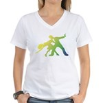 Rainbow Dancer Silhouettes Women's V-Neck T-Shirt
