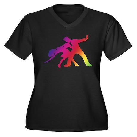Rainbow Dancer Silhouettes Women's Plus Size V-Nec