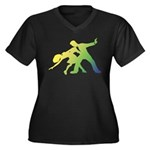 Rainbow Dancer Silhouettes Women's Plus Size V-Nec
