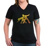 Rainbow Dancer Silhouettes Women's V-Neck Dark T-S