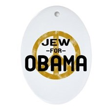 Jew for Obama Oval Ornament
