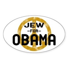 Jew for Obama Oval Decal