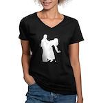 Dancer Silhouettes #3 Women's V-Neck Dark T-Shirt