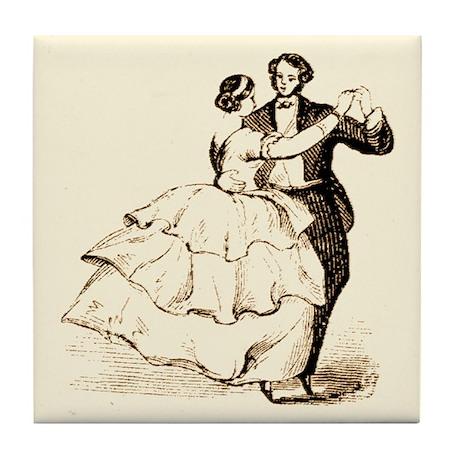 Old-time Ballroom Dancers Tile Coaster