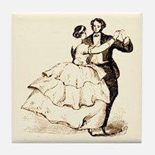 Old-time Ballroom Dancers Tile Coaster