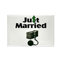 Just Married (Ball and Money) Rectangle Magnet (10