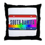 South Dakota Rainbow State Throw Pillow