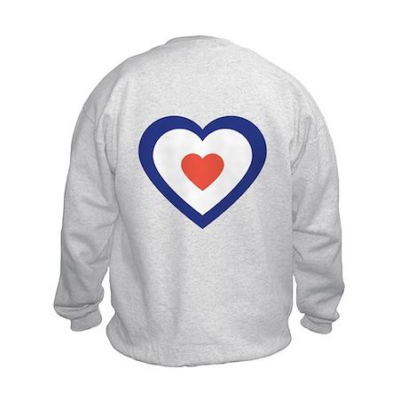 Mod Target Heart Kids BACKPRINT Sweatshirt