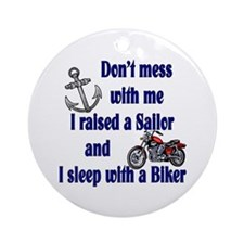 Navy Mom Sleep with a Biker Ornament (Round)