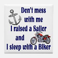 Navy Mom Sleep with a Biker Tile Coaster
