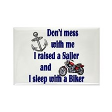 Navy Mom Sleep with a Biker Rectangle Magnet