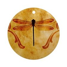 Artistic Vintage Dragonfly Ornament (Round)