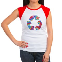 Recycle Tie Dye Women's Cap Sleeve T-Shirt