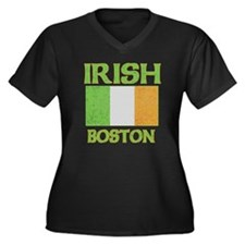 Boston Irish Flag Women's Plus Size V-Neck Dark T-