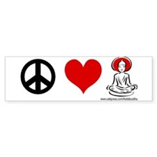 """""""Peace, love, Buddhism"""" Bumper Bumper Sticker"""