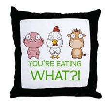 You're eating WHAT! dark Throw Pillow