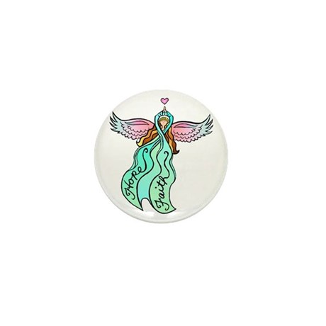Teal Angel Mini Button (10 pack)