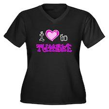 I Love to Tumble Women's Plus Size V-Neck Dark T-S