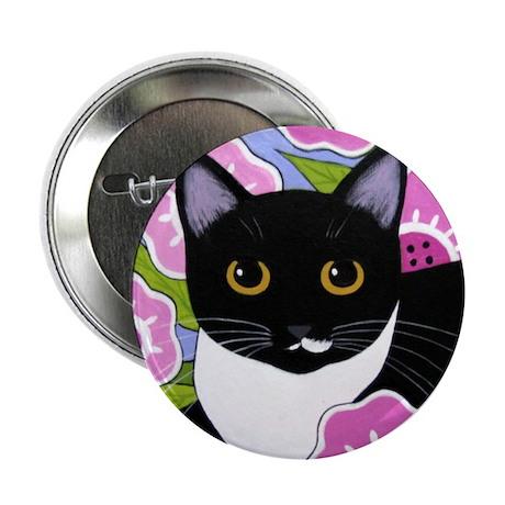 SASSY Black & White Tuxedo CAT BUTTON PIN 2.25