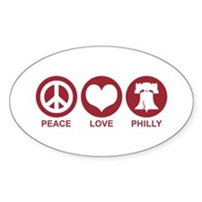 Peace Love Phiily Oval Decal