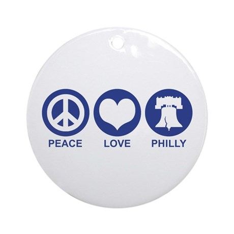 Peace Love Phiily Ornament (Round)