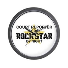 Court Reporter Rock Star by Night Wall Clock