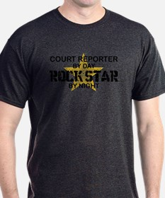 Court Reporter Rock Star by Night T-Shirt