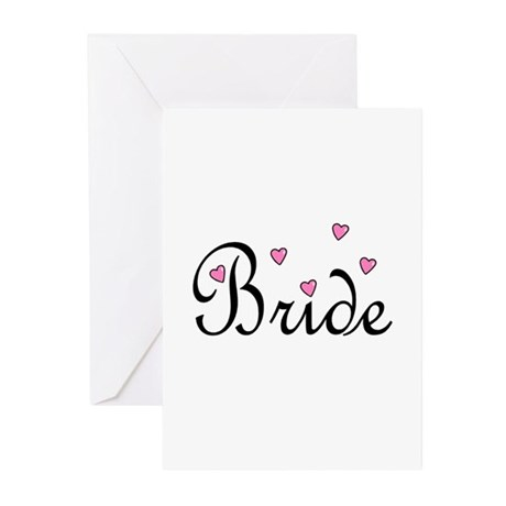 Bride (Pink Hearts) Greeting Cards (Pk of 20)