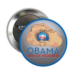 "Obama Sign of Progress 2.25"" Button (10 pack)"