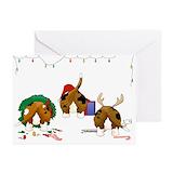 Basset hound christmas Greeting Cards