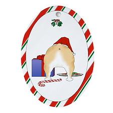 Bulldog Christmas Oval Ornament
