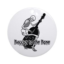 Black Skeleton Bassist Ornament (Round)