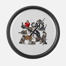 """Large Wall Clock """"I love Cats"""""""