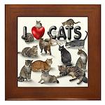 """Framed Tile """"I love Cats"""""""
