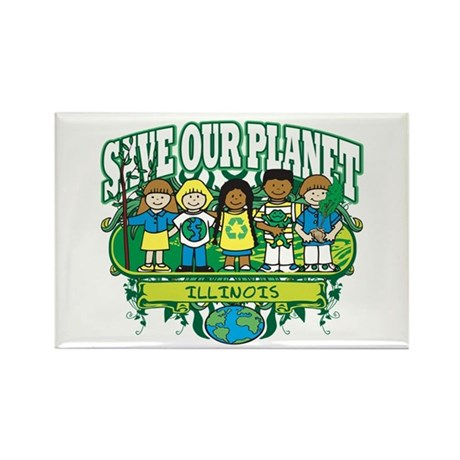 Earth Kids Illinois Rectangle Magnet (10 pack)