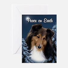 Peace Sheltie #3 Xmas Card(Pk of 10)