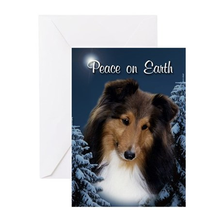 Peace Sheltie #3 Xmas Card (Pk of 20)