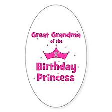 Great Grandma 1st Birthday Pr Oval Decal