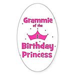 Grammie 1st Birthday Princess Oval Sticker