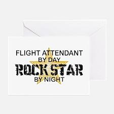 Flight Attendant Rock Star by Night Greeting Cards