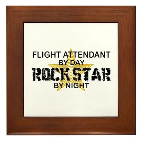 Flight Attendant Rock Star by Night Framed Tile