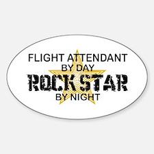 Flight Attendant Rock Star by Night Oval Decal