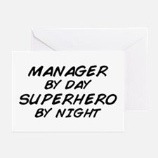 Manager Superhero by Night Greeting Cards (Pk of 1