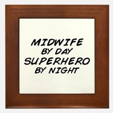 Midwife Superhero by Night Framed Tile