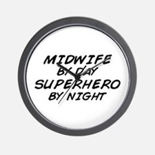 Midwife Superhero by Night Wall Clock